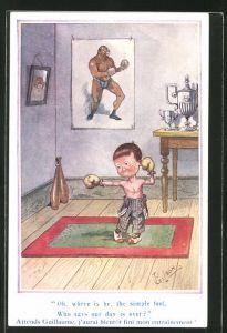 Künstler-AK T. Gilson: Junge mit Boxhandschuhen