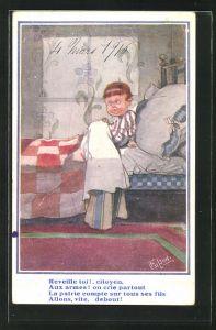 Künstler-AK T. Gilson: Junge unter der Bettdecke