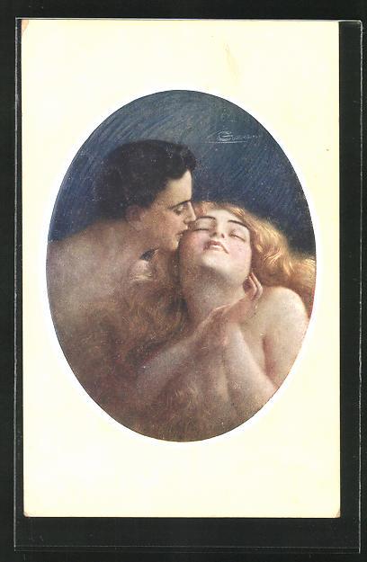 Künstler-AK G. Guerzoni: Mann küsst seine Liebste