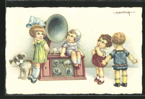 Künstler-AK A. Bertiglia: Kinder mit einem Grammophon