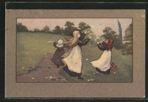 Künstler-AK S. Barham: Mädchen spielen mit dem wehenden Herbstlaub