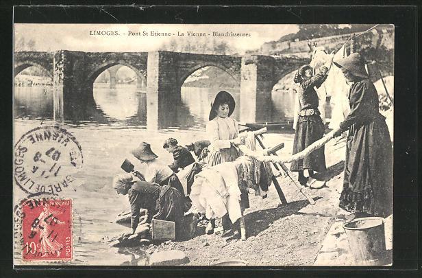 AK Limoges, Pont St. Etienne, la Vienne-Blanchisseuses, Waschfrauen