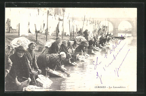AK Limoges, Les Lavandieres, Waschfrauen am Fluss
