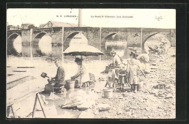 AK Limoges, Le Pont St-Etienne, les Laveuses, Waschfrauen und Kinder