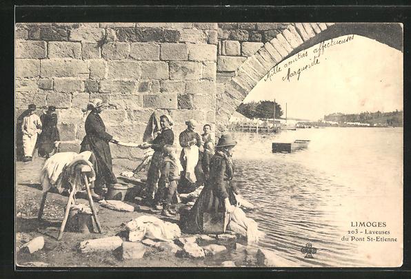 AK Limoges, Laveuses du Pont St.Etienne, Waschfrauen an der Brücke
