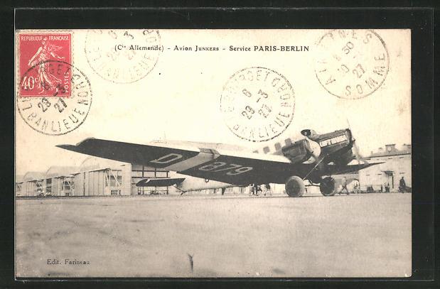 AK Avion Junkers, Service PAris-Berlin, Flugzeug am Flughafen