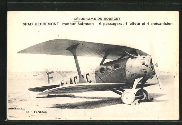 AK Bourget, Aerodrome, Spad Herbemont, moteur Salmson, 6 passagers, 1 pilote et 1 mecanicien, Flugzeug