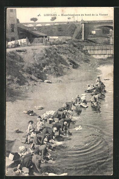 AK Limoges, Blanchisseuses au bord de la Vienne, Waschfrauen