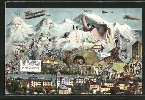 AK Interlaken, Die Jungfrau in der Zukunft, Berg mit Gesicht / Berggesicht, Berggesichter