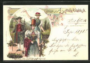 Lithographie Mann und Frauen in Schwarzwälder Trachten
