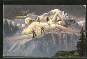 AK Die Jungfrau, schlafende Riesin und Bergsteiger, Vollmond, Berg mit Gesicht / Berggesicht, Berggesichter
