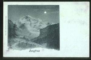 Mondschein-AK Jungfrau bei Vollmond, Berg mit Gesicht / Berggesicht, Berggesichter