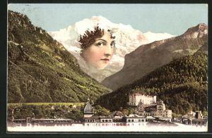 AK Panorama mit Berg mit Gesicht / Berggesicht, Montage, Berggesichter