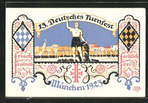 Künstler-AK Siegmund von Suchodolski: 13. Deutsches Turnfest München 1923, Athlet mit Siegerkranz