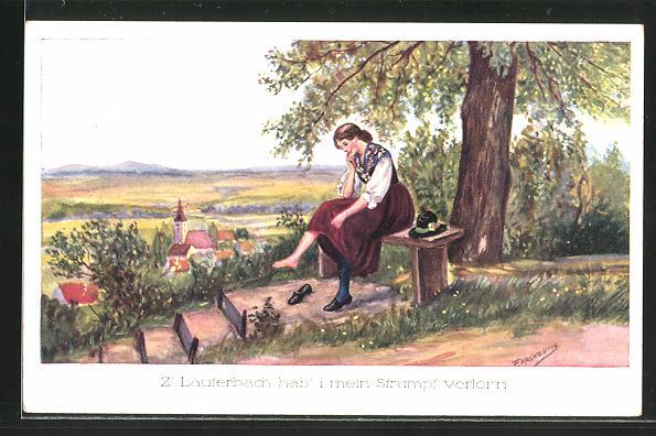 Künstler-AK Friedrich Kaskeline: Frau ohne Strumpf auf einer Bank sitzend