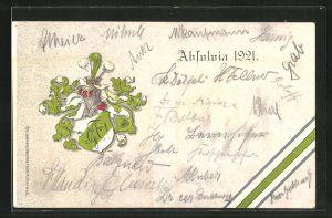 AK Studentenwappen, Absolvia 1921, Wappenschild in weiss und grün