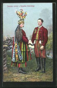 AK Polnisches Paar in Volkstrachten