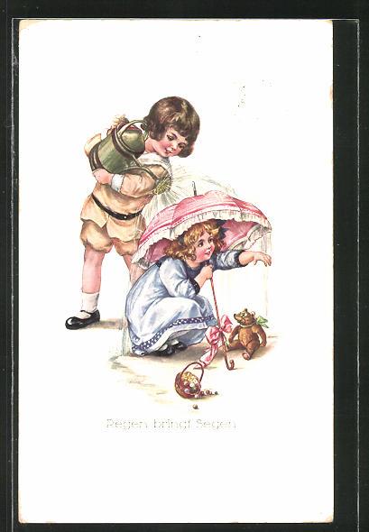 AK Kleines Mädchen mit Teddy unter einem Regenschirm