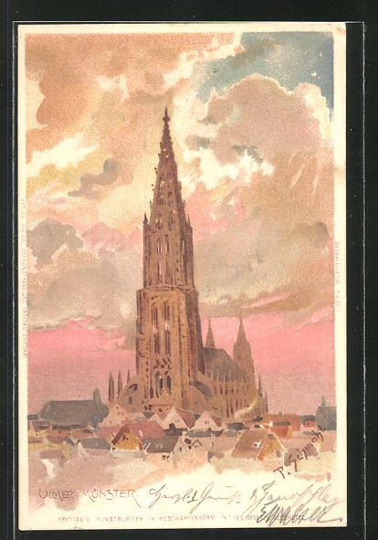 Künstler-AK P. Schmohl: Ulm, Münster im Abendlicht