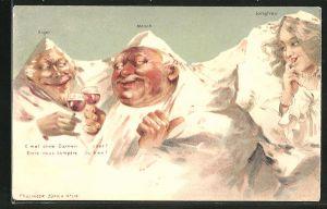 Künstler-AK Killinger Nr. 114: Eiger und Mönch prosten sich zu, Berg mit Gesicht / Berggesichter