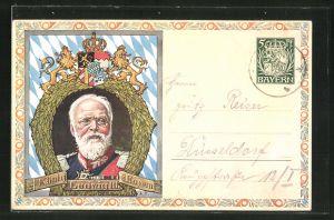 Künstler-AK Portrait von König Ludwig III. von Bayern, Ganzsache Bayern