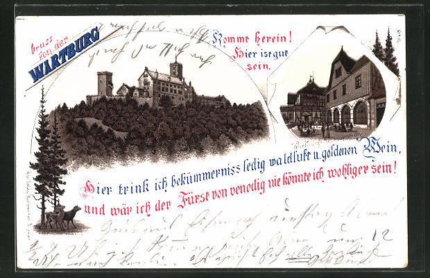 Lithographie Ansicht der Wartburg, Wartburg-Restaurant