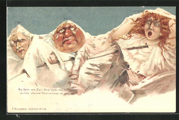 AK Killinger Nr. 115: Mönch, Eiger, Jungfrau, Drei Opfer des Fortschritts, Bahn am Ziel, Berg mit Gesicht, Berggesichter