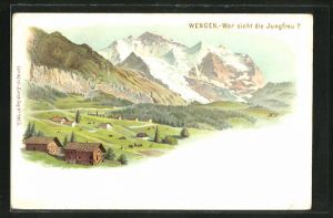 Lithographie Künzli Nr. 5006: Wengen, Wer sieht die Jungfrau?, Berg mit Gesicht / Berggesichter