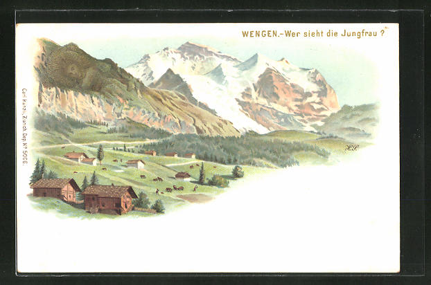 Lithographie Künzli Nr. 5006: Wengen,