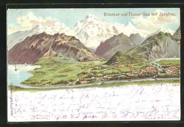 Lithographie Künzli Nr. 5018: Brienzer und Thuner See mit Jungfrau, Berg mit Gesicht / Berggesichter