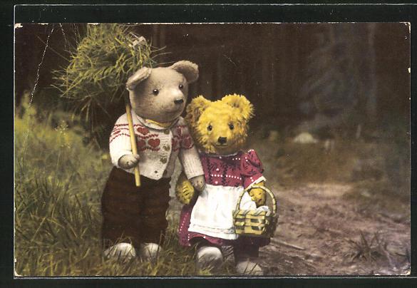 AK Teddybären-Paar bei der Feldarbeit