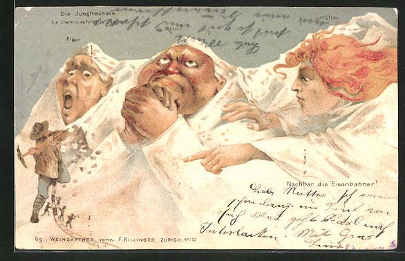 Lithographie Killinger Nr. 112: Eiger, Mönch und Jungfrau fürchten die Tunnelbauer, Berg mit Gesicht / Berggesichter
