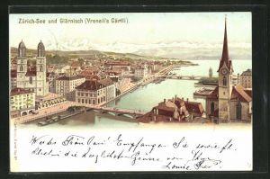 Lithographie Künzli Nr. 5014: Zürich, Teilansicht mit Glärnisch (Vreneli's Gärtli), Berg mit Gesicht / Berggesichter