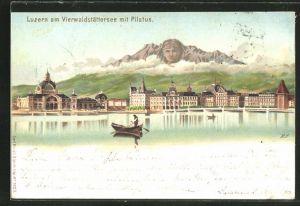 Lithographie Künzli Nr. 5023: Luzern, Teilansicht mit Pilatus, Berg mit Gesicht / Berggesichter