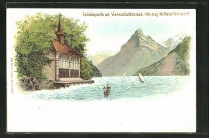 Lithographie Vierwaldstättersee, Tellskapelle,