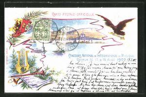 Künstler-AK Geneve, Concours National & International de Musique 1902, auf dem See