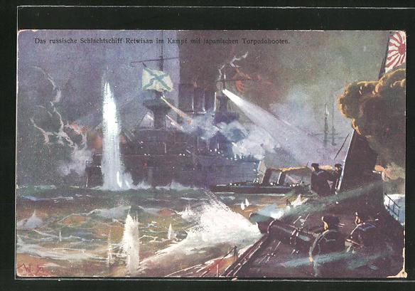 Künstler-AK Willy Stoewer: Russisches Schlachtschiff Retwisan im Kampf mit japanischen Torpedobooten