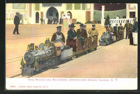 AK Coney Island, N.Y., Dreamland, Miniature Railroad / Kleinbahn