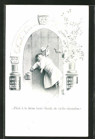 AK Reklame für Nestle Milchpulver, Säugling an einer Tür