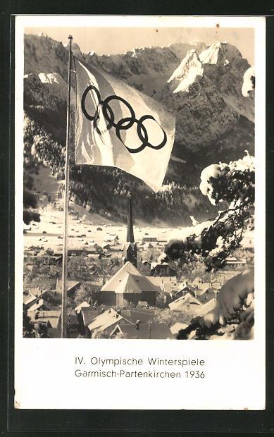 AK Garmisch-Partenkirchen, IV. Olympische Winterspiele 1936, Ortsansicht und Flagge