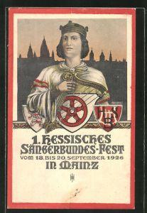 Künstler-AK Mainz, 1. hessisches Sängerbundes-Fest 1926, Sänger mit Harfe und Wappen