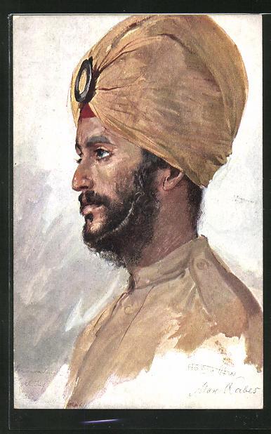 Künstler-AK Max Rabes: Inder aus Pandshab, Ind. Sukh-Inf.-Rgt.