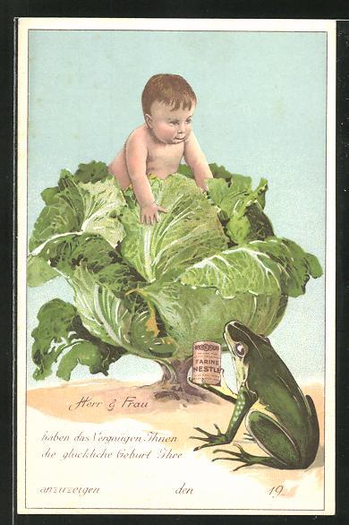 AK Frosch hält Medikamentendose Farine von Nestle, Baby auf einem Kohlkopf sitzend