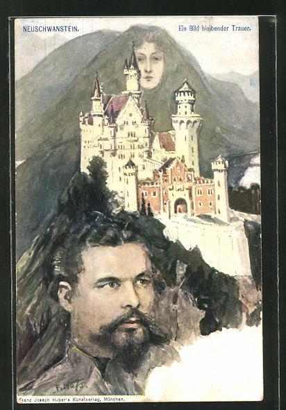 Künstler-AK Fritz Hass: Neuschwanstein, Schloss und Berggesichter