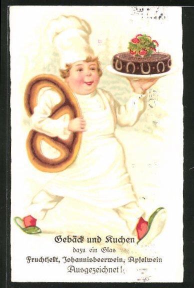 AK Bäcker mit Brezel und Torte