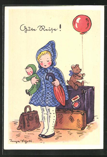 Künstler-AK Inge Schott: hübsches Mädchen mit Koffer, Puppe und Teddybären