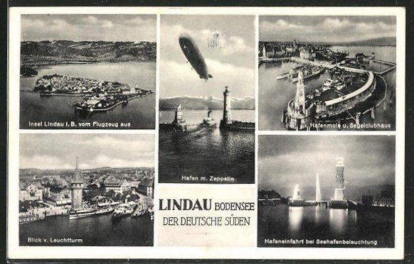 AK Lindau a. B., Zeppelin über dem Hafen, Fliegeraufnahme der INsel