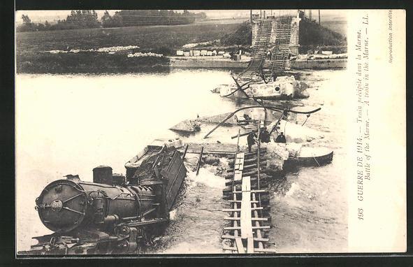 AK Battle of the Marne, Eisenbahnkatastrophe auf der zerstörten Brücke
