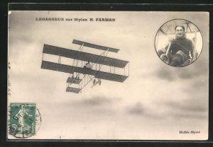 AK Pilot Legagneux im H. Farman Doppeldecker-Flugzeug