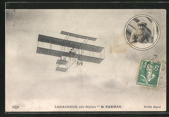 AK Pilot Legagneux im Farman Doppeldecker-Flugzeug